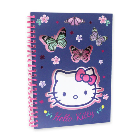 Hello Kitty Butterfly Spiral Notebook Stationery Navy A5 50153-00043