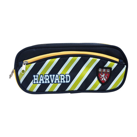 Harvard Energetic Yellow Stripes & Blue Pencil Case Stationery 83-23-0003