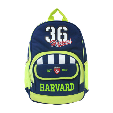 "Harvard Easygoing Blue & Neon Green Backpack 16"" 83-71-0003"