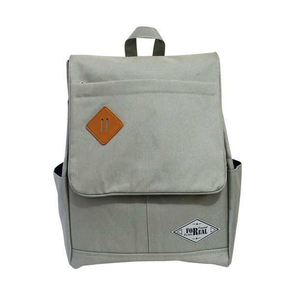 For Real Square Canvass Backpack Grey 15.5 inch 85-71-0005