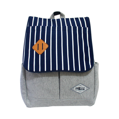 For Real Square Big Striped Canvass Backpack Navy Blue 15.5 85-71-0007