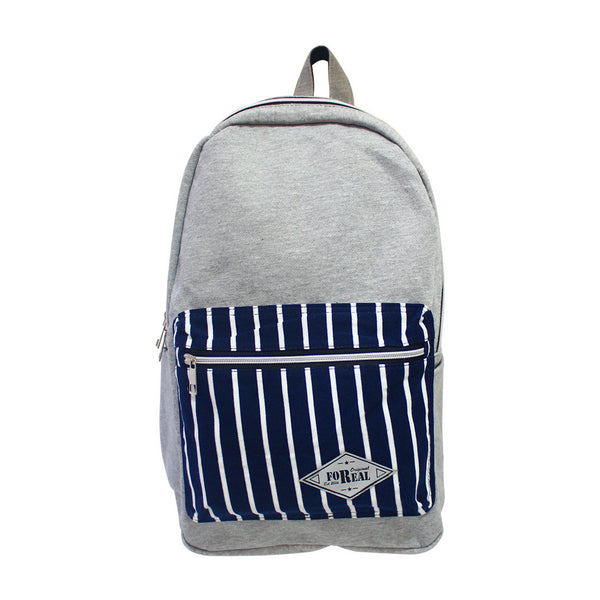 For Real Round Big Striped Canvass Backpack Navy Blue 17.5 85-71-0008