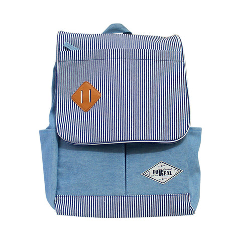 For Real Square Small Striped Canvass Backpack Light blue 15.5 85-71-0009