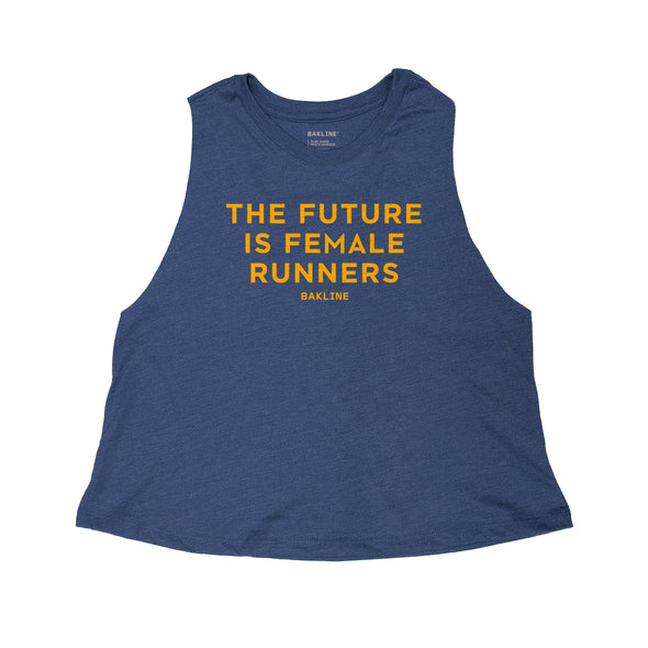 Future is Female Runners Heather Navy Racerback Crop (LIMITED EDITION) - Bakline
