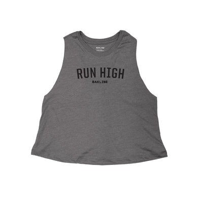 Run High Heathered Racerback Crop Tank - Bakline