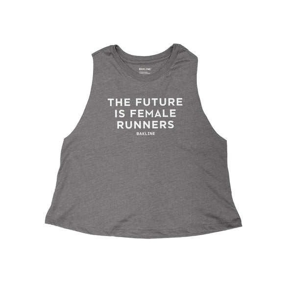 Future is Female Runners Heathered Racerback Crop Tank - Bakline
