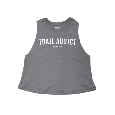 Trail Addict Heathered Racerback Crop Tank - Bakline