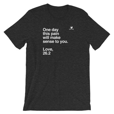 One Day, Love 26.2 Heathered Unisex Tee - Bakline
