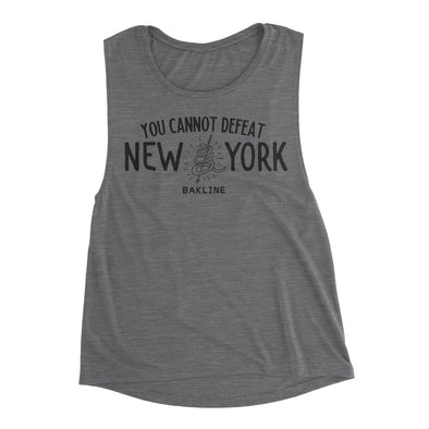 You Cannot Defeat New York Limited Edition Asphalt Women's Muscle Tank - Bakline