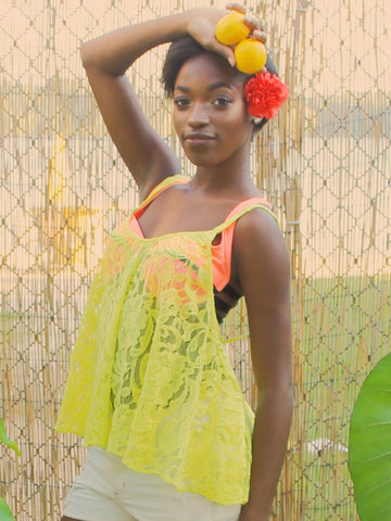 Show Me Your Mumu Iola Lace Acid Yellow Stacey Swing Tank