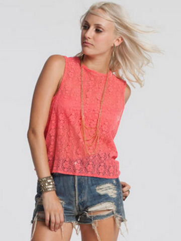 Chaser Moroccan Lace Muscle Tank