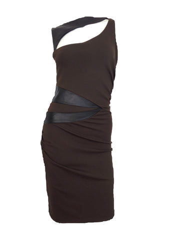 Natalia Romano Bella Brown with Black Lamb Skin Leather Body Con Dress
