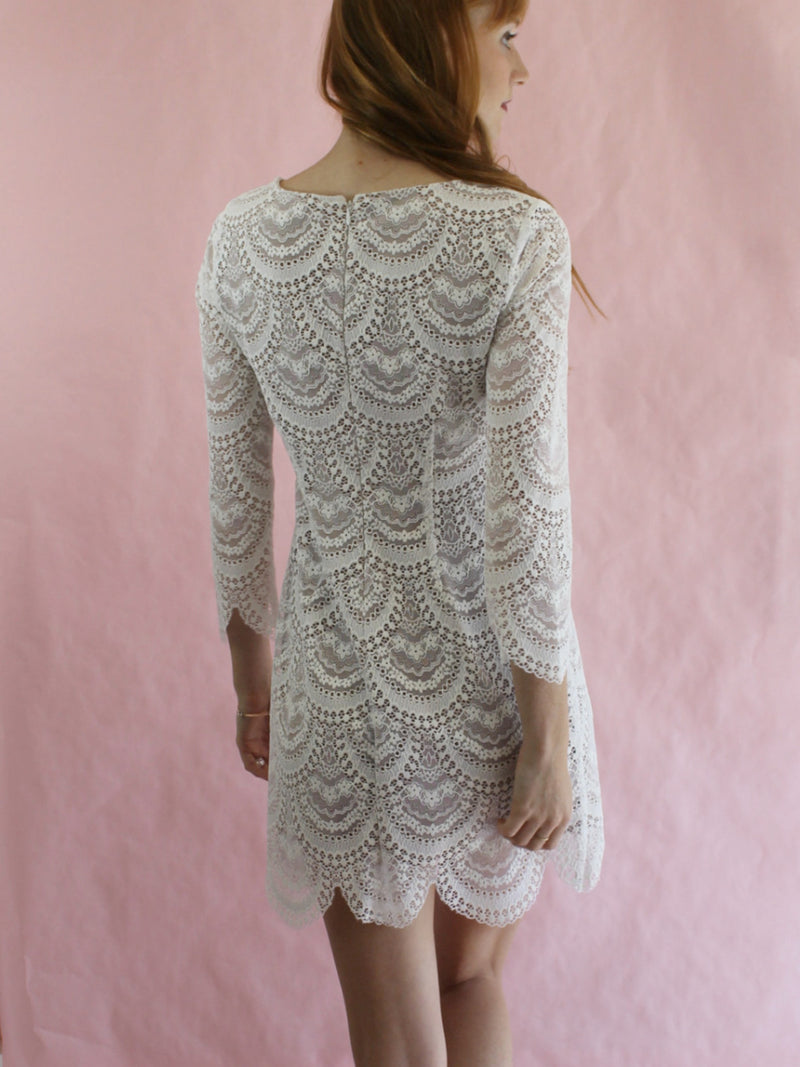 For Love & Lemons White Lace Rosalita Mini Dress