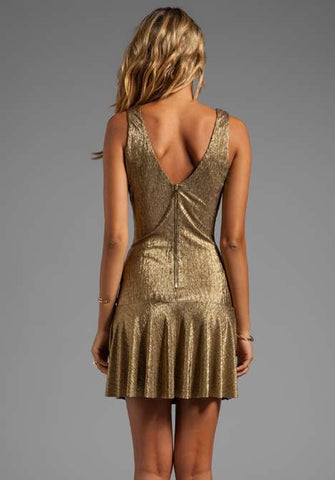 Sam & Lavi Metallic Gold Knit Lesa Dress