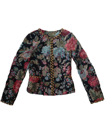 Growze Floral Tapestry and Chain Blazer