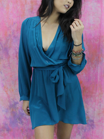 S.Y.L.K. Turquoise Silk Jacey Wrap Dress With Back Cut Outs