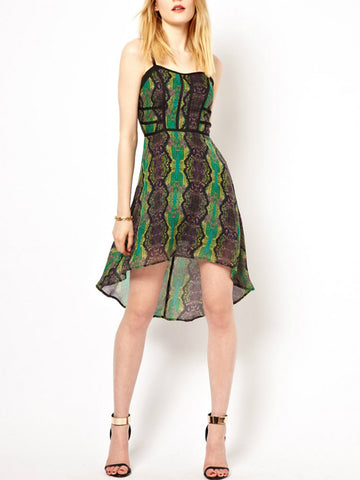 S.Y.L.K. Silk Reptile Print Bustier High Low Dress