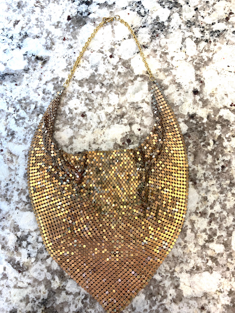 Vintage Gold Mesh 1970s Cowl Disco Necklace