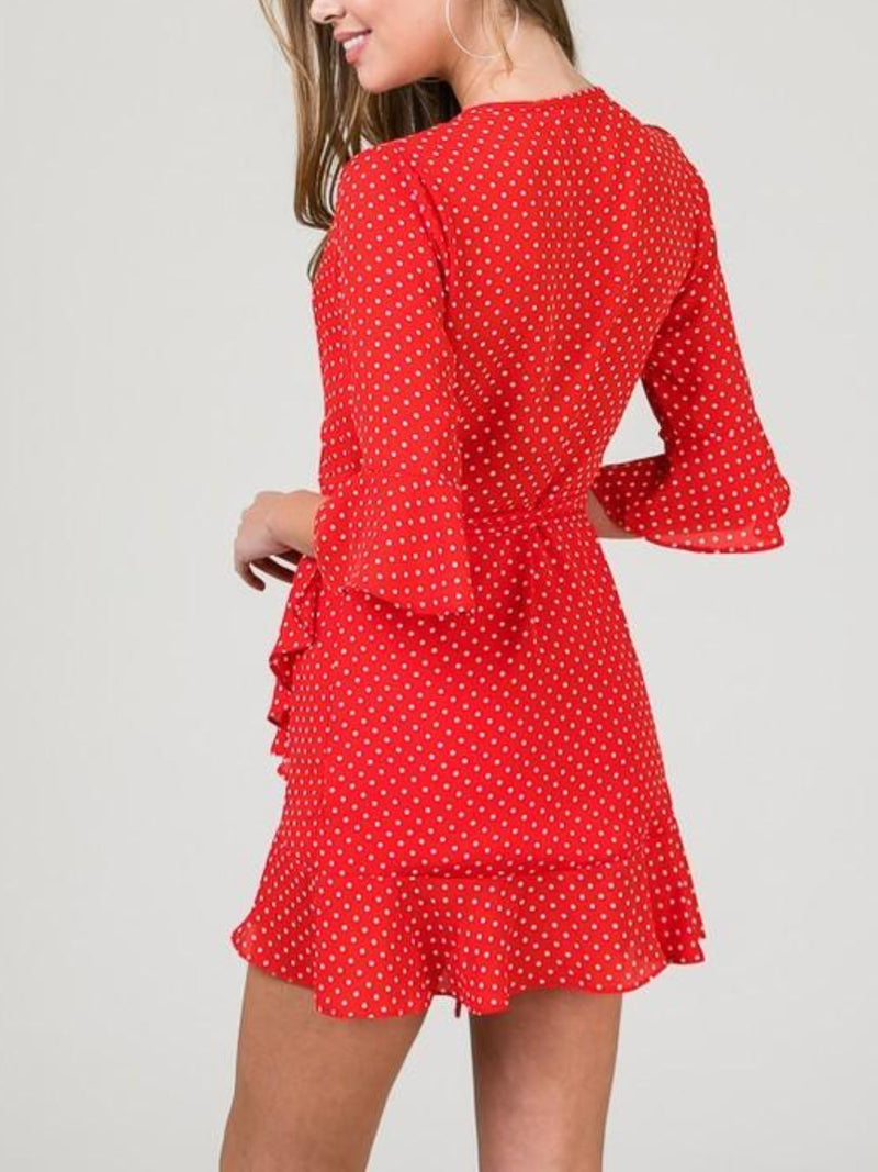 Havana Red & White Polka Dot Mini Wrap Dress
