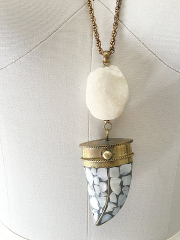 Verve Jewelry Vintage Brass Mother of Pearl Horn with Druzy