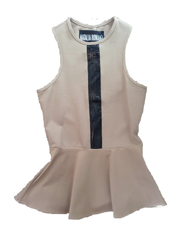 Natalia Romano Emily Peplum Top With Leather Cut-Out Inset