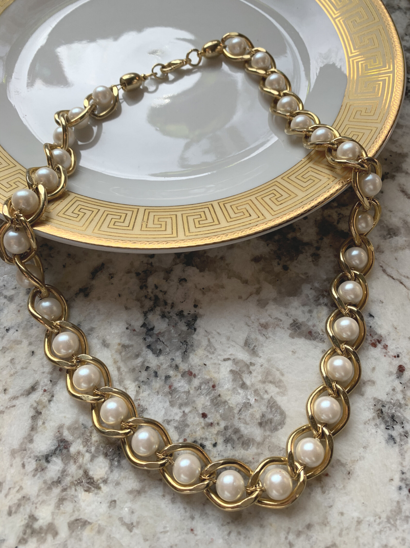 Vintage Pearl & Gold Necklace