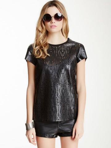 House of Harlow Black Faux Leather Phoenix Tee