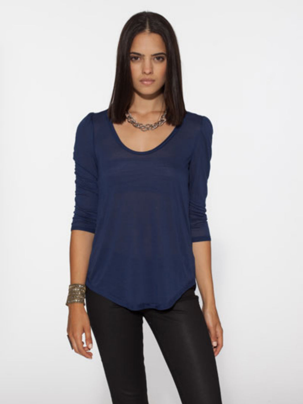 Chaser Indigo Puff Sleeve Liquid Jersey Top