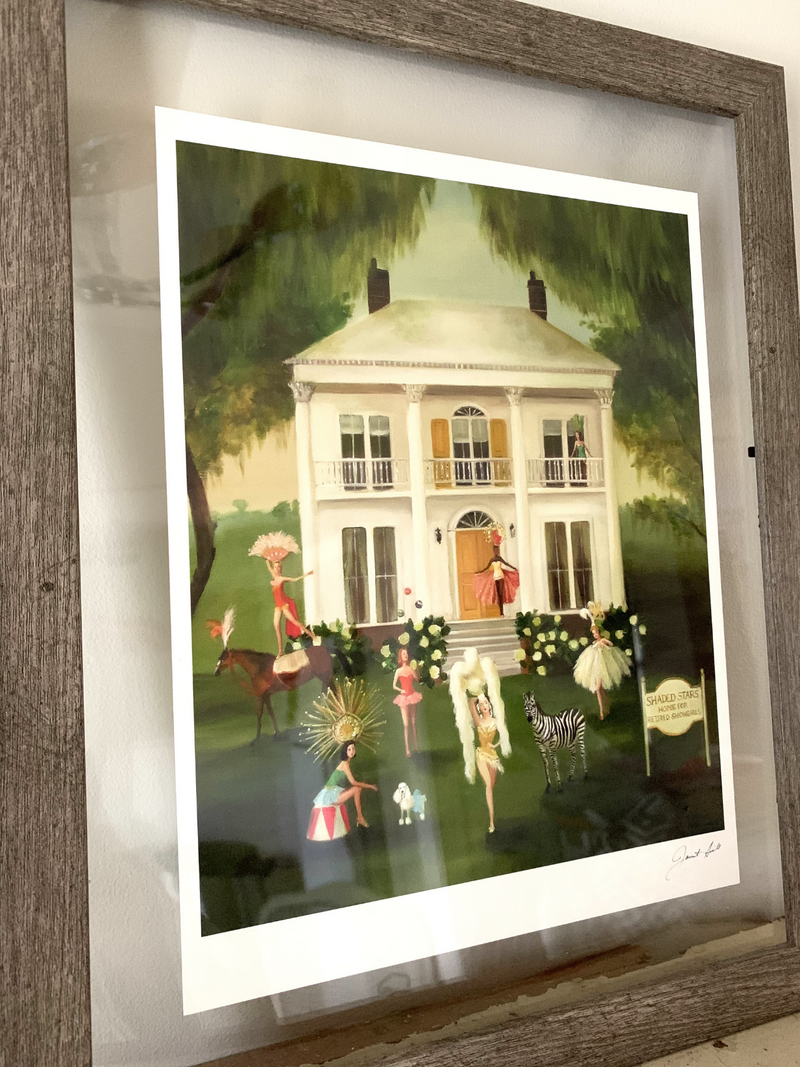 Framed Shaded Stars, The Home For Retired Showgirls Art Print by Janet Hill