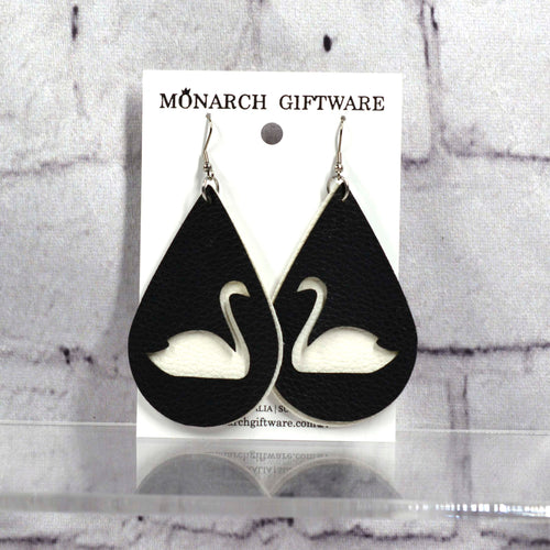 Swan Vegan Leather Earrings (white/black)