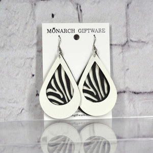 Zebra Vegan Leather Earrings