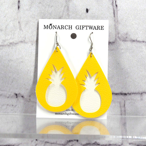 Pineapple Vegan Leather Earrings (white/yellow)