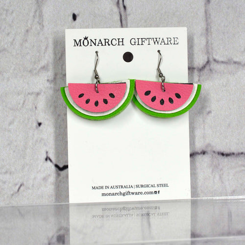 Watermelon Vegan Leather Earrings