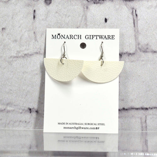 Half Circle Vegan Leather Earrings (white)