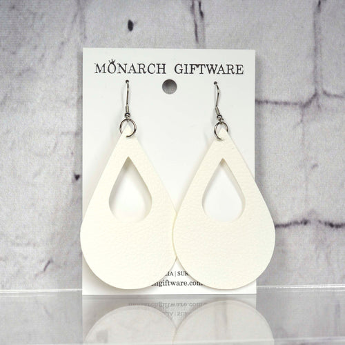 Small Hollow Vegan Leather Teardrop Pop Earrings (white)