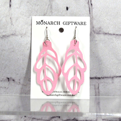 Autumn Leaf Vegan Leather Earrings (sorbet pink)