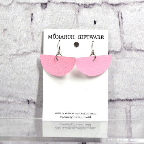 Half Circle Vegan Leather Earrings (sorbet pink)