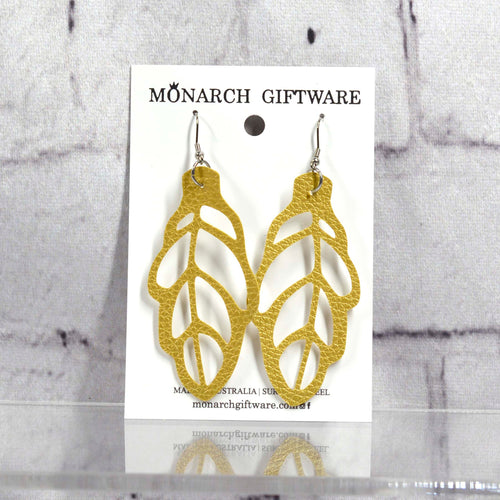 Autumn Leaf Vegan Leather Earrings (gold)