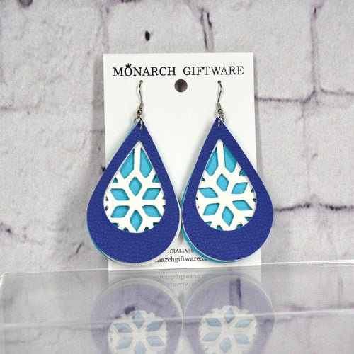 Snowflake Vegan Leather Earrings (light blue/white/navy)