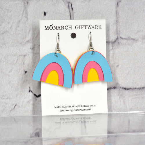 Rainbow Vegan Leather Earrings