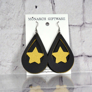 Black & Gold Vegan Leather 3 Layer Teardrop Earrings (star 2)