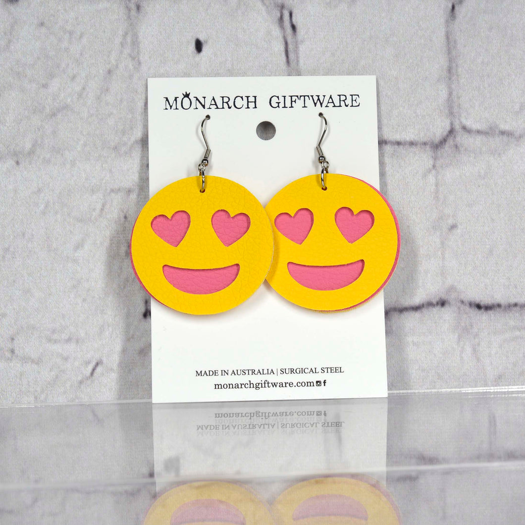 Smiling Heart Emoji Vegan Leather Fun Earrings (yellow/hot pink)