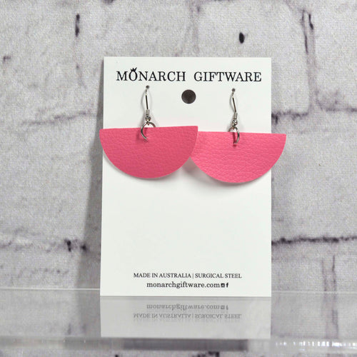 Half Circle Vegan Leather Earrings (pink)