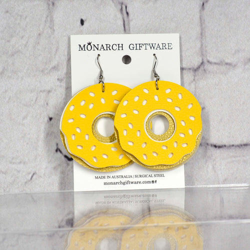 Doughnut Vegan Leather Fun Earrings (yellow/white)