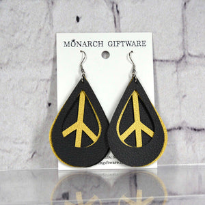 Black & Gold Vegan Leather 3 Layer Teardrop Earrings (peace)