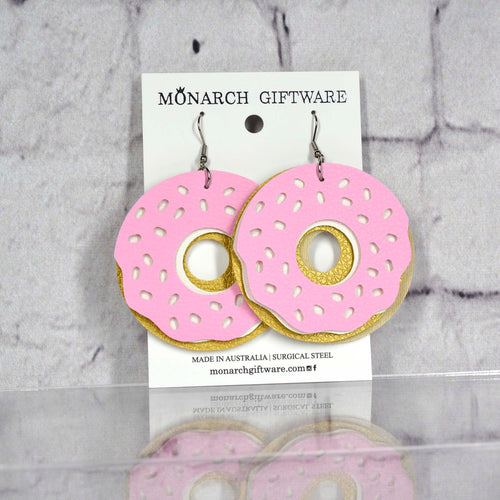 Doughnut Vegan Leather Fun Earrings (sorbet pink/white)