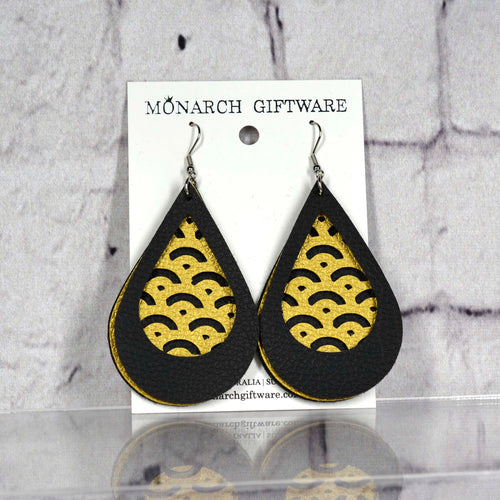 Black & Gold Vegan Leather 3 Layer Teardrop Earrings (mountains)