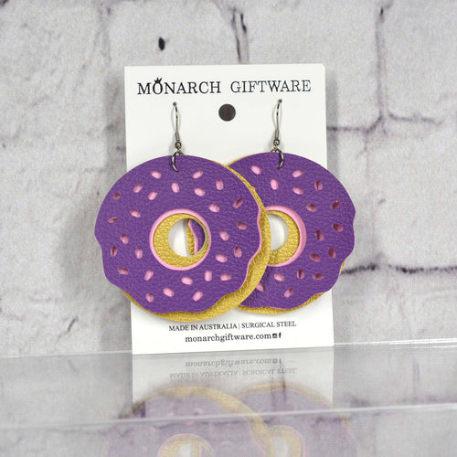 Doughnut Vegan Leather Fun Earrings (purple/sorbet pink)