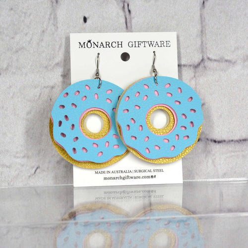 Doughnut Vegan Leather Fun Earrings (light blue/sorbet pink)