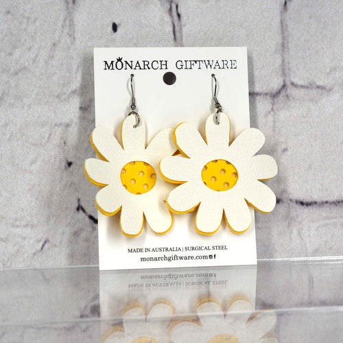 Daisy Vegan Leather Earrings